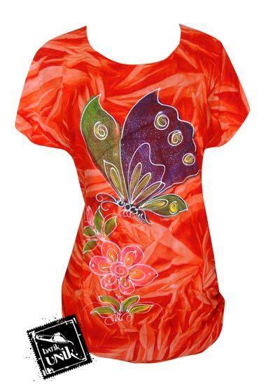 Kaos Wanita Second Motif Etnik baju batik kaos lukis motif kupu madu etnik kaos murah