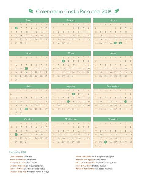 Costa Rica Calendã 2018 Calendario Costa Rica A 241 O 2018 Feriados