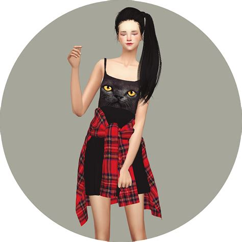 Sims4 marigold tied shirt dress amp vintage denim jacket dress