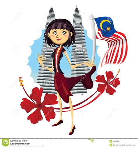 Wallpaper Cartoon Malaysia   tourism in malaysia truly asia illustration stock vector