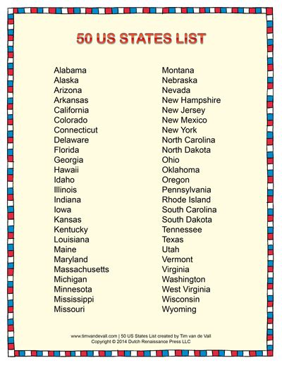 List Of All Us States | list of states in alphabetical order social studies