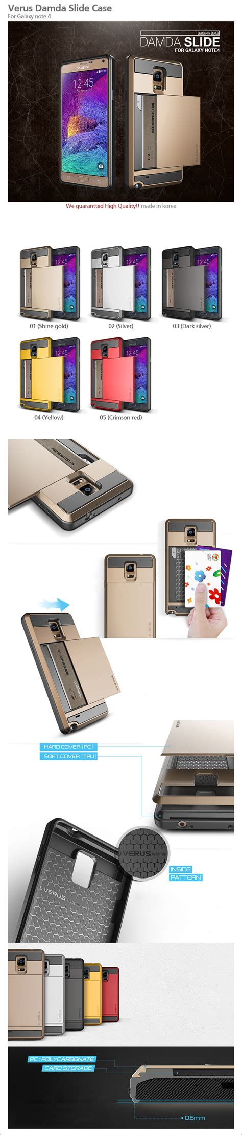 Verus Damda Slide Iphone 5 5s verus damda slide galaxy note 4 card pocket 5