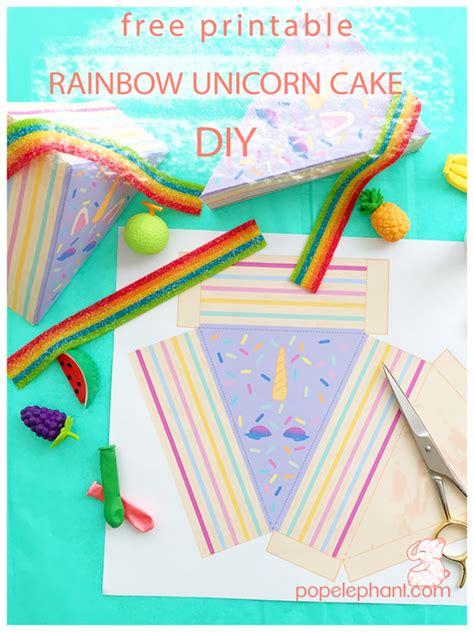 unicorn rainbow cake box diy  printable template