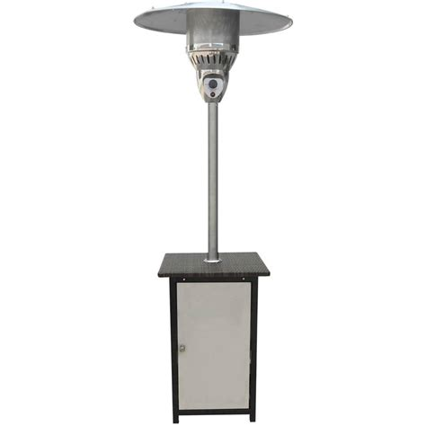 Stainless Steel Table Top Patio Heater Hanover 7 Ft 41 000 Btu Stainless Steel Square Propane Gas Patio Heater With Wicker Table Top