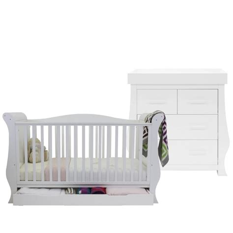 Sleigh Cot Bed White Babystyle Hollie Sleigh Cot Bed Dresser White Cot Beds Furniture From Pramcentre Uk