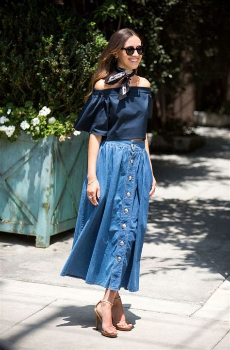 how to wear denim skirts with different tops fashion