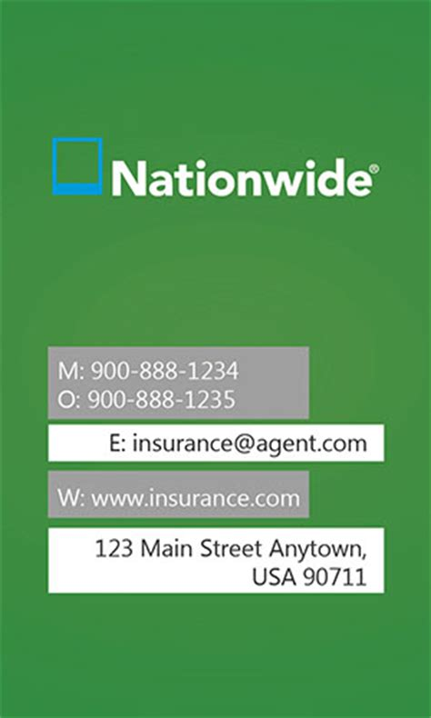 Nationwide Insurance Card Template by Insurance Business Card Allstate Agents Card Designs