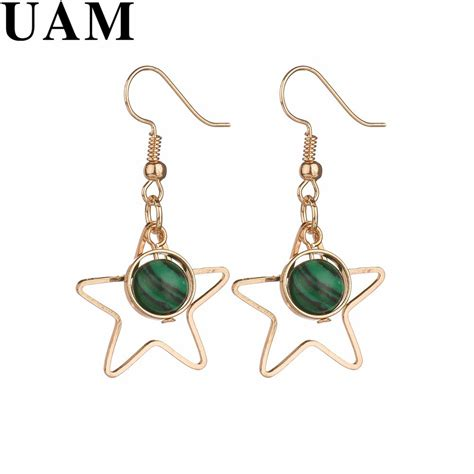 Green Balls Korean Necklace uam korean stylish hollow gold color five pointed drop earrings gray green
