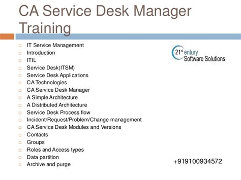 ca service desk manager ca service desk manager corporate training 9100934572