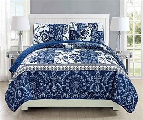 navy blue quilted coverlet mk collection 3pc bedspread coverlet quilted floral white