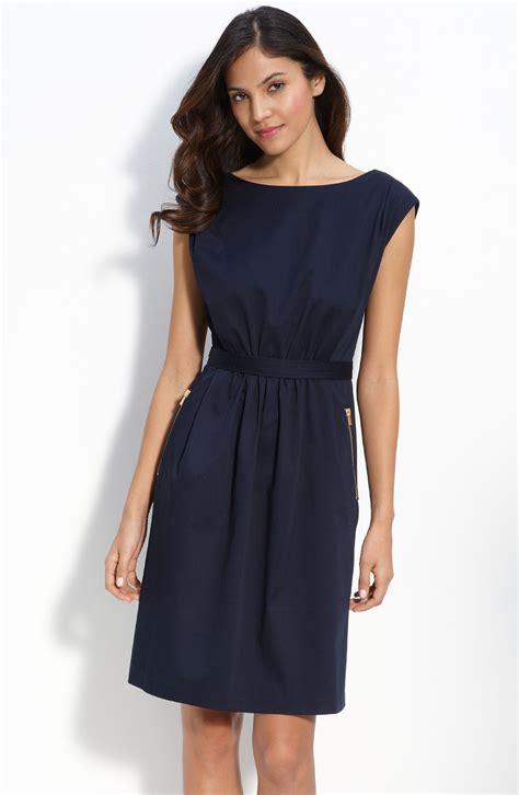 Cotton Dress 30513 2 maggy zip snap trim cotton dress in blue navy lyst