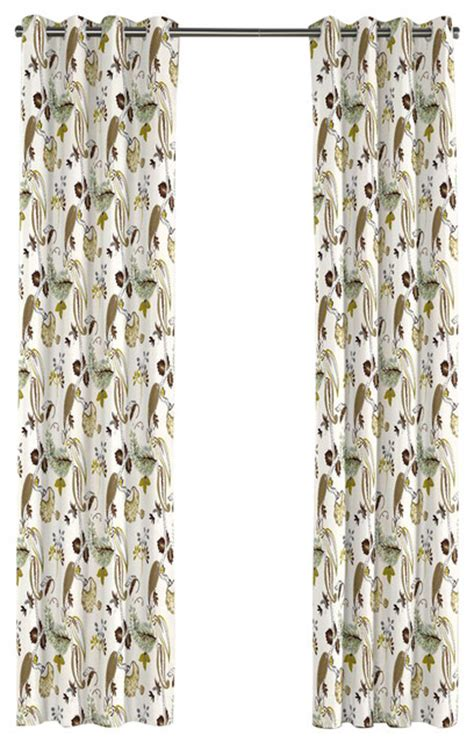 green and brown curtain panels green and brown botanical grommet curtain contemporary
