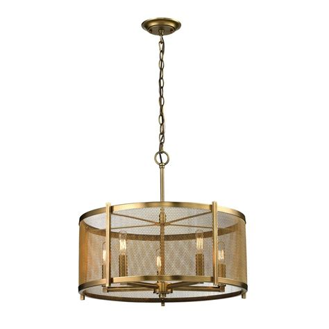 Metal Drum Pendant Light Mid Century Modern Pendant Light Brass Rialto By Elk Lighting 31483 5 Destination Lighting