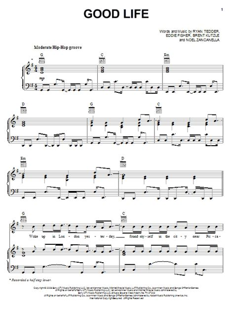 good sheets good life sheet music by onerepublic piano vocal