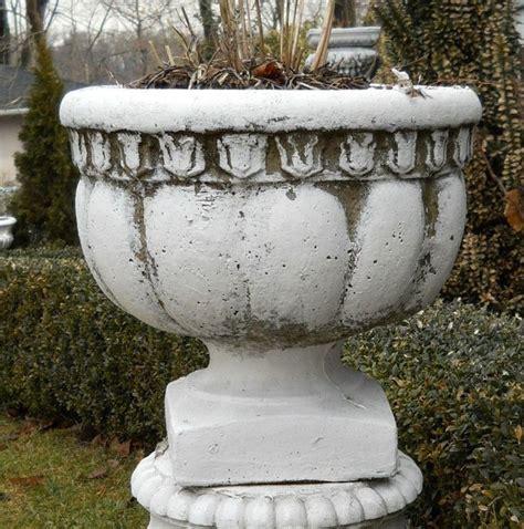 antique pair vintage concrete estate urns garden