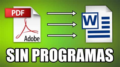 como convertir imagenes a pdf sin programas c 243 mo convertir de pdf a word sin programas youtube