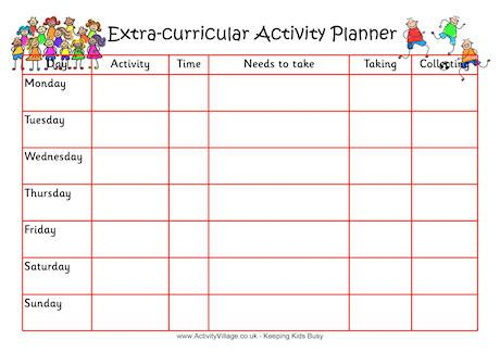 printable weekly activity planner extra curricular activity planner 3