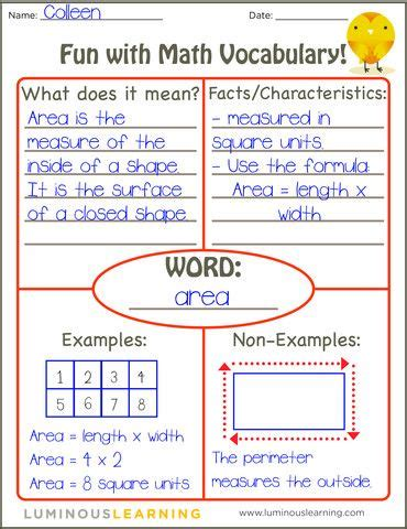 Math Models Worksheets by Math Math Vocabulary And Models On