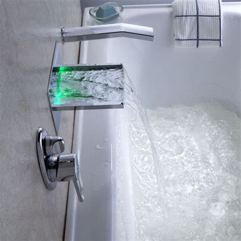 Whirlpool Tub Faucets Wall Mount by Wall Mounted Led Waterfall Bathroom Bathtub Faucets And