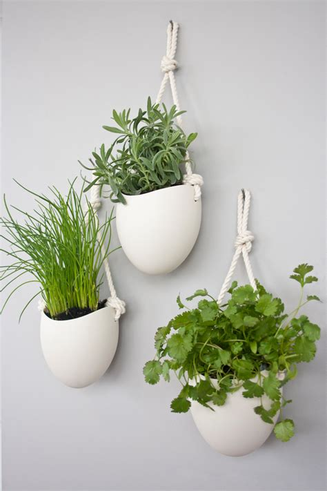 set of 3 porcelain and cotton rope hanging planters etsy