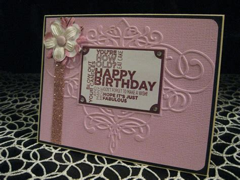 stin up quot happy birthday quot embossed handmade card with
