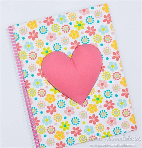 cuadernos decorados de tela decora tus cuadernos con un gran coraz 243 n tela
