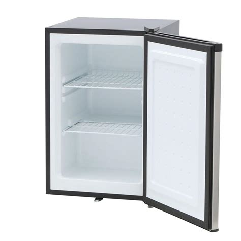 spt 2 1 cu ft upright freezer in stainless steel black