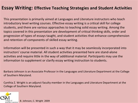 Teaching Essay by Essay Writing Effective Teaching Strategies And Student Activities B