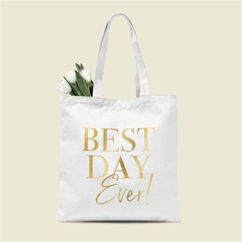 wedding gift 'best day ever' tote bag by team hen