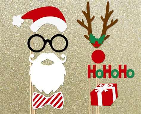 christmas holidays 8 piece photo booth props santa