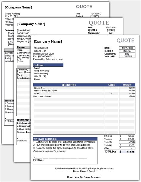 free price quote template for excel
