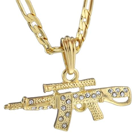 ak 47 iced out gun pendant rifle gold plated necklace 24