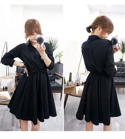 Dress Baju Korea Lengan Panjang Murah Kb075 dress hitam lengan panjang import model terbaru
