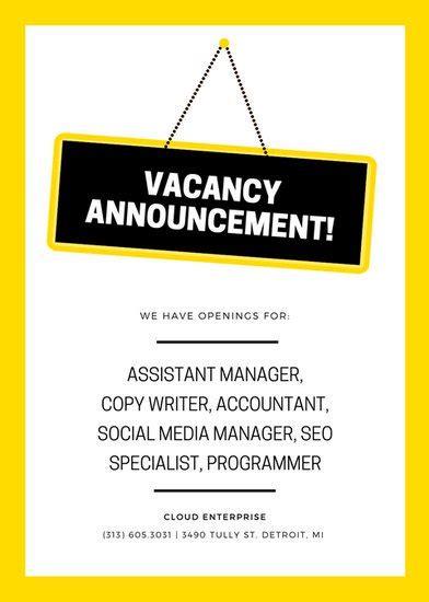 customize 86 job vacancy announcement templates online