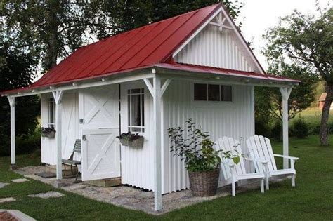 White Garden Shed White Garden Shed With A Tin Roof The Door