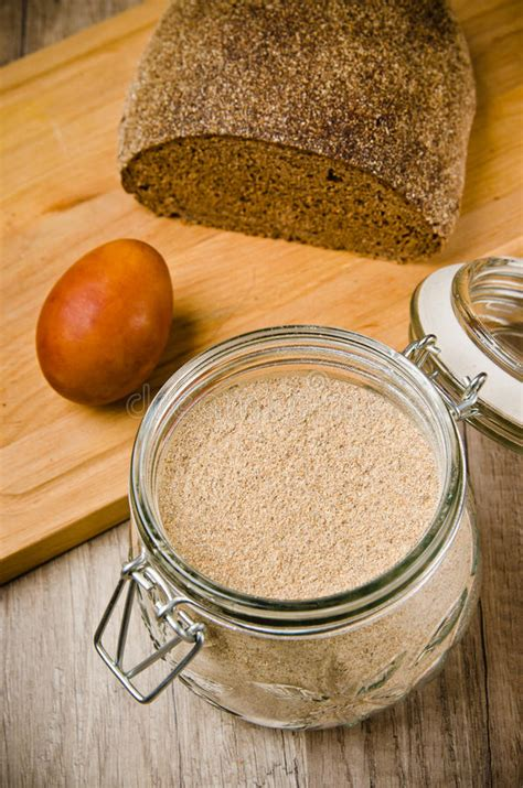 black bread rye flour and egg royalty free stock