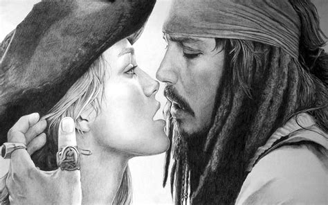 black and white kiss wallpaper keira knightley pirates of the caribbean johnny depp