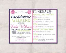bridal shower itinerary template bachelorette weekend invitation and itinerary