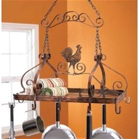 Rooster Pot Rack Country Iron Rooster Pot Rack In The Kitchen