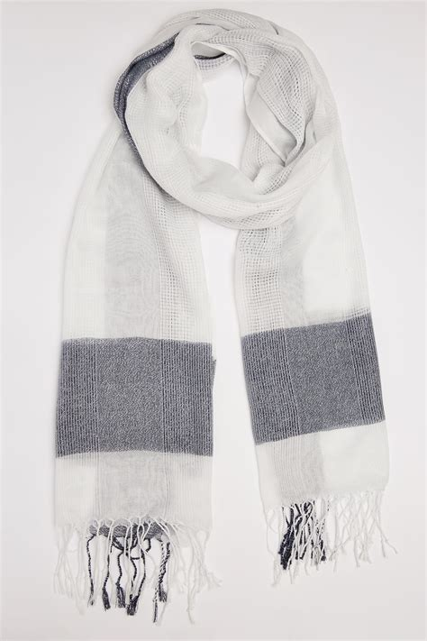 Buy Gift Cards With Checking Account - white navy wide check scarf with metallic thread