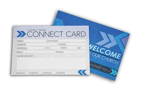 church visitor card template generator postcard psd template church connect card blue