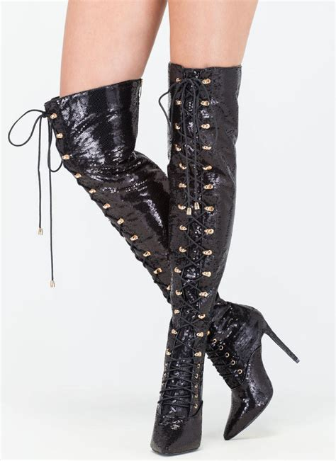 walking in thigh high boots walk sequin thigh high boots black gojane
