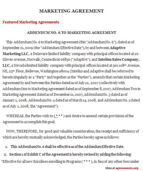 marketing agreement sle marketing agreement template