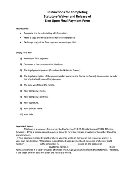 Instructions For Completing Statutory Waiver And Release Of Lien Printable Pdf Download Notice To Owner Florida Template