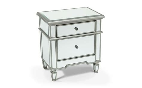 mirrored 2 drawer side table nightstands bedroom bob
