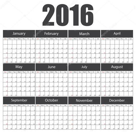 calendar template illustrator 2016 calendar template stock vector 169 4zeva 75108525