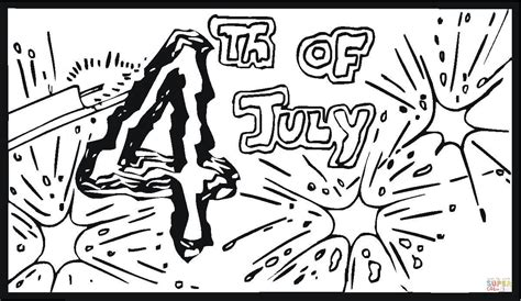 fourth of july big fireworks coloring page free