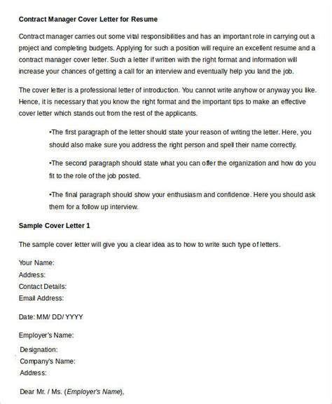 contract administrator cover letter 40 free manager resume templates pdf doc free