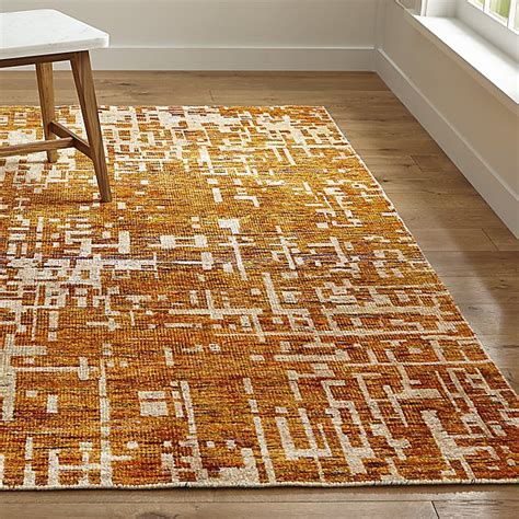 knotted rug celosia orange knotted rug crate and barrel