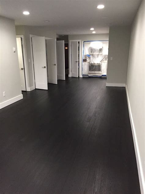 True black duraseal stain and 2 coats of bona mega.   Yelp